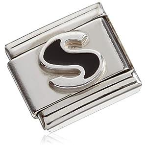 Nomination Unisex Composable CLASSIC BUCHSTABEN Schwarz, Email und Silber 925 (S) Edelstahl – 330201/19