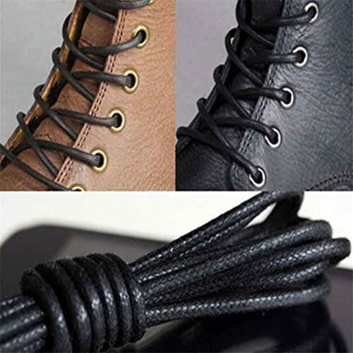 ECYC® 2 Paia Lacci Per Scarpe In Lino Cerato Con Lacci In Cotone Da 70 Cm A02: Nero