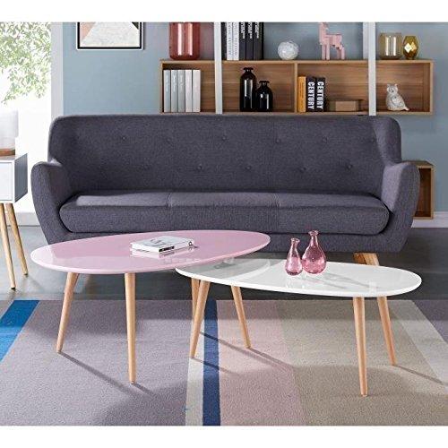 STONE02 Table basse style scandinave en MDF laqué rose brillant - L 98 x l 61 cm