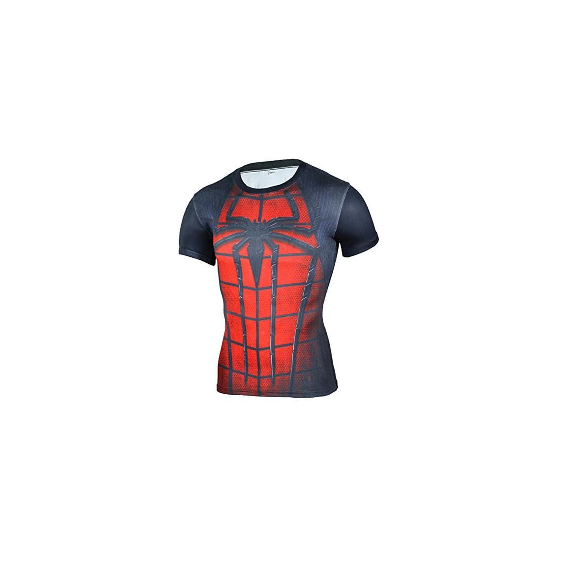 23050c2bbf33e Camiseta Fitness Compresion Hombre con Dibujos de Superheroes para Entrenar  y Hacer Deporte. Licras (