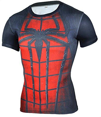Camiseta Fitness Compresion Hombre Dibujos Superheroes