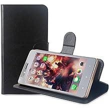 PREVOA Flip PU Funda Case Protictive para ELE Elephone S1 3G Smartphone 5,0 Pulgadas - Negro -