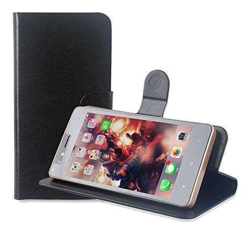 PREVOA ® 丨Flip PU Hülle Cover Case Schutzhülle Tasche für Oukitel U15S 5,5 Zoll Android 6,0 Smartphone - (Schwarz -)