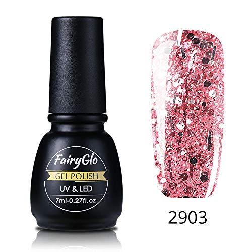 FairyGlo Glitzer UV-Nagellack Rosegold Serie Rose Gold Glitter Nail Gel Polish Gel Design Maniküre Glitzer Nail Gel Nägel LED Gellack 7ML 2903