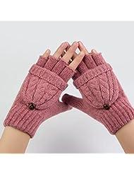 OULII Mitten Gloves Fingerless Gloves Wool Knit Gloves Winter Warm Wool Knitted Convertible Fingerless Gloves With Mitten Cover (Pink) - Christmas Gift for Women Girls