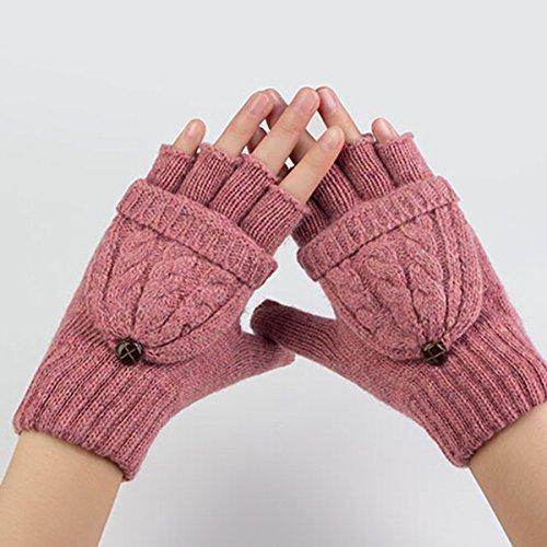 Pixnor Damen Mädchen Winter Halb Handschuhe Winter Wärmer Strick Handschuhe Gestrickte Fingerlose Fäustlinge mit Flip Top