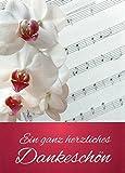 Danksagungskarten ohne Innentext Motiv Orchidee Noten 25 Klappkarten DIN A6 Hochformat mit weißen Umschlägen Set für diverse Anlässe Hochzeit Geburtstag Dankeskarten Dankeschön Karten Danke sagen K38
