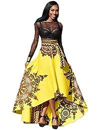 QUICKLYLY Nuevo Falda Africano Mujer Impreso Verano Boho Largo Vestir Playa Noche Fiesta Maxi