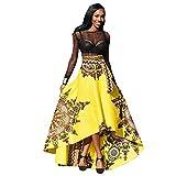 QUICKLYLY Falda Africano Mujer Impreso Verano Boho Largo Vestir Playa Noche Fiesta Maxi (S, amrillo)