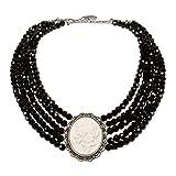 Alpenflüstern Perlen-Trachten-Collier Sophia - Trachtenkette Perlen mit Blüten-Gemme, Damen-Trachtenschmuck Dirndlkette Schwarz DHK150
