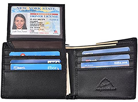 Hopsooken RFID Leather Bifold Wallets Women Men Flipout Slim ID Wallet Trifold (Black(UP))