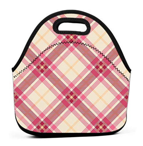 Lunch Bag for Women,Water/Leakproof Insulated Lunch Box classic tartan merry christmas check plaids Positive (Check Nylon-einkaufstasche)
