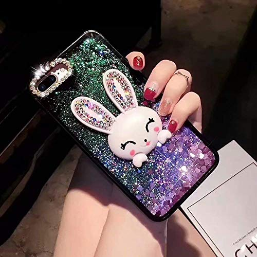 Lila Flüssig Treibsand Hülle für iPhone 6S,Diamant Handyhülle für iPhone 6,Moiky Luxuriös Süß 3D Karikatur Hase Häschen Dekor Stoßdämpfende Schutzhülle mit Gurt
