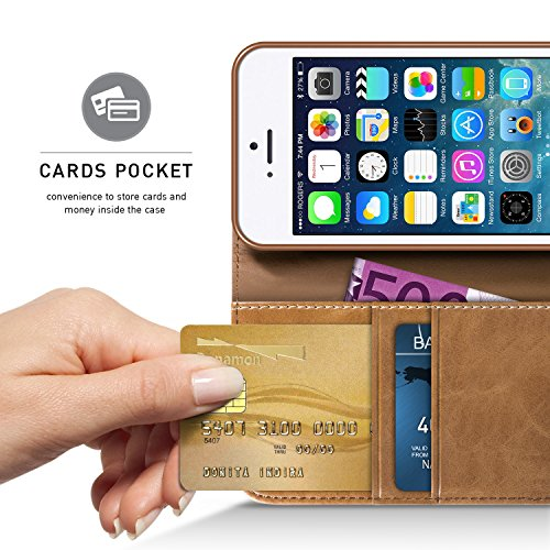 Handyhülle iPhone 5S Hülle, BEZ® iPhone SE 5 5S Hülle, Handyhüllen Handytasche Schutzhülle Tasche Flip Case [Stoff Bezug und PU leder] mit Kreditkartenhaltern, Standfunktion - Grau Blau Marine
