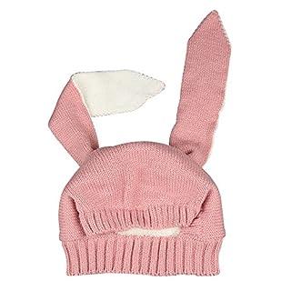 Alxcio Unisex Baby Hüte Cute Hasenohren Style Hut Herbst Winter Verdicken Strickmützen Mützen Kinder Hut - Rosa