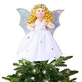 Aytai puntale per albero di Natale argento angelo ali abito bianco albero top 17 cm Christmas Tabletop Decor, festa di Natale Decorazioni