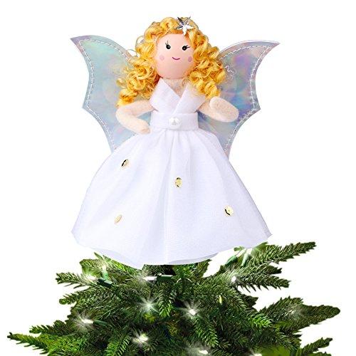 Aytai Christbaumspitze Engel silber Flügel weiß Kleid Baum Top Bluetooth Weihnachten Dekor Tischplatte, Weihnachten, Urlaub Dekorationen