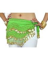 Belt Belly Dance Belt 3 Rows 128 Coins Dancing Costumes Hip Skirt Belt Hip Scarf (Apple Green)