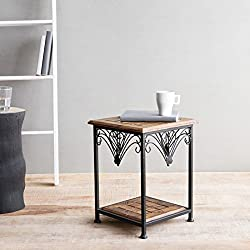 Onlineshoppee Wooden And Iron End Table Walnut And Black Size(LxBxH-11X11X14.7) Inch