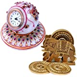 Little India Marble Table Clock and Wooden Tea Coaster Set  (DL3COMB132)