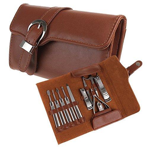 Kefaith 11 stücke Maniküre Set Luxus/Deluxe Echtes Braunes Leder Nagelpflege Persönliche Maniküre & Pediküre Set, Maniküre Travel & Grooming Set Kit, Nagelknipser Praktischer Organisator -