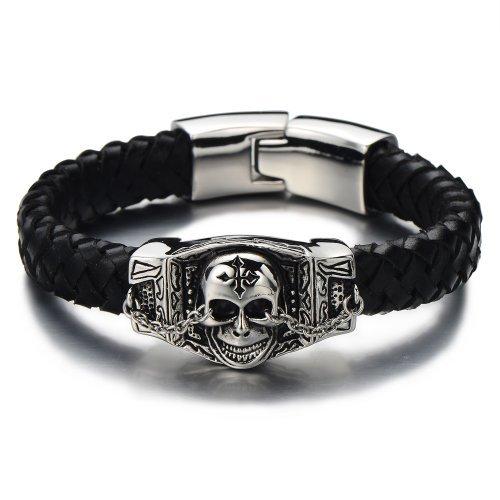COOLSTEELANDBEYOND Biker Geflochtenes Leder-Armband Schädel-Armband für Herren aus Edelstahl und...