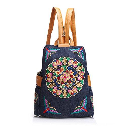 Vento nazionale ricami denim mini doppio spallamento piccolo zaino moda sacca femmina versione coreana double borsa a tracolla, profondo blu Dark blue