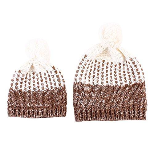 Eizur 2pcs Mama und Baby Stricken Hut Winter Warm mutter und kind Kleinkind Kids Häkelarbeit Mütze Kappe--Khaki