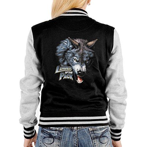 College Jacke schwarz / grau Damen mit Wolf Motiv : Leader of the Pack -- Collegejacke Farbe: schwarz Schwarz