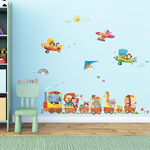 Decowall DAT-1406A1506B Tren de Animales y Biplanos Vinilo Pegatinas Decorativas Adhesiva Pared Dormitorio Salón Guardería Habitación Infantiles Niños Bebés