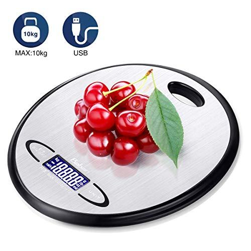 Küchenwaage Baban Digitale Küchenwaage 10kg Maximalgewicht, 6 Einheiten(milk, g, kg, lb, oz, ml)Ultradünne Backwagge, große Fläche, 2 Wählbarere Power-Modi, Inklusive Akku oder USB-Netzteil