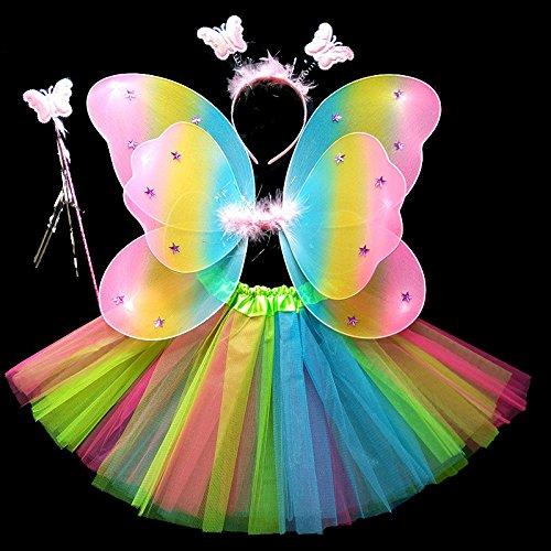 Motto Kostüme K (Damjic Halloween Kinder Schmetterlingsflügel Prinzessin Kostüm Mädchen.)