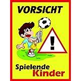 """Hinweisschild """"Vorsicht! Spielende Kinder"""", Größe: 30x40cm, Art. hin_118, Achtung, Vorsicht, Warnung, Hinweis auf Kinder, langsam fahren, Spielstraße"""