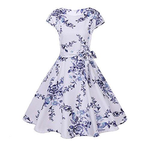 JMETRIC Cocktailkleid Festliche Kleider Kurzarm Abendkleider Elegantes Vintage Hepburn Kleid mit Hoher Taille Stil - Fred Feuerstein Maskottchen Kostüm
