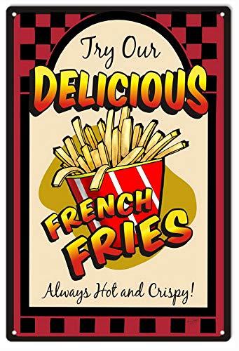 ABLERTRADE Türschild Delicious French Fries Hot and Crispy Food Schild aus Metall, 20 x 30 cm Friesen Satin