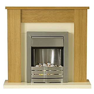 Adam Solus Fireplace Suite with Helios Electric Fire in Brushed Steel, Oak