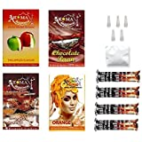 Alshan Aroma Happiness Herbal Hookah Flavour Combo of 4 Pack Plus 4 Rolls of Charcoal Plus Filter Tips Plus Foil