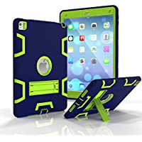 Ddj iPad Air 2Custodia, Antiurto Survivor Extreme Esercito Heavy Duty cavalletto Cover Posteriore Protettiva resistente pieghevole stand & dual layer Paraurti Anti Sporco, Neve, sabbia, per Apple iPad Air 2 Blue Green