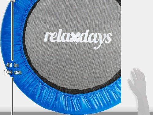Relaxdays Fitness Trampolin, 91 cm Durchmesser, Indoortrampolin, belastbar bis 100 kg, Fitness und Ausdauertraining, blau -