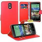 HTC Desire 526G Handy Tasche, FoneExpert® Wallet Case Flip Cover Hüllen Etui Ledertasche Lederhülle Premium Schutzhülle für HTC Desire 526G (Rot)
