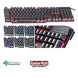 GeneralKeys Keyboard: Halbmechanische USB-Gaming-Tastatur, 7-farbig beleuchtet, wasserfest (Tastatur mit Beleuchtung)