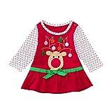 Mädchen Weihnachten Flare Bow Langarm Cartoon Print Dot Kleid Infant Baby Kleidung