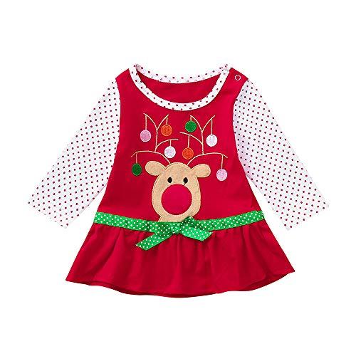 Babykleider,Sannysis Baby Mädchen Festlich Kleid Kleinkind Weihnachten Langarm Cartoon Print gekräuselten Polka Dot Kleid Rock Outfits