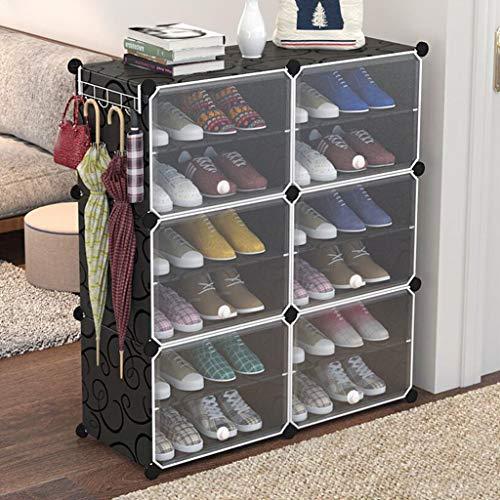 Schuhregale, 12 Storage Cube Organizer Kleiderschrank Modularer Schrank Kunststoffschrank, Cubby Regal Schubladenschrank, DIY Modulares Bücherregal Schranksystem mit Türen für Kleidung, Schuhe, Spielz - 2 Regal-modular-storage
