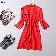 XuankuCostura De Temperamento Long-Sleeved Blusas Y Vestidos [L] Código De Descuento [Rojo]