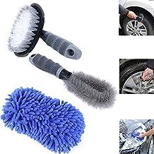 [3en 1Auto Cuidado Juego] autoreinigung Llanta + neumático Cepillo para limpieza de llantas y neumáticos + Manopla Esponja con banda de goma de microfibra y para coche, moto, bicicleta, muebles y presupuesto de Wortek–