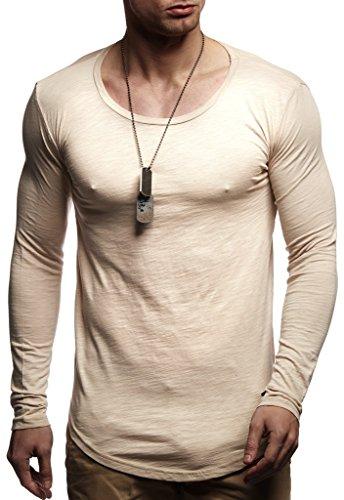 LEIF NELSON Herren Pullover Longsleeve Hoodie Basic Sweatshirt Langarm Hoody Sweater LN8172; Größe S, Beige  