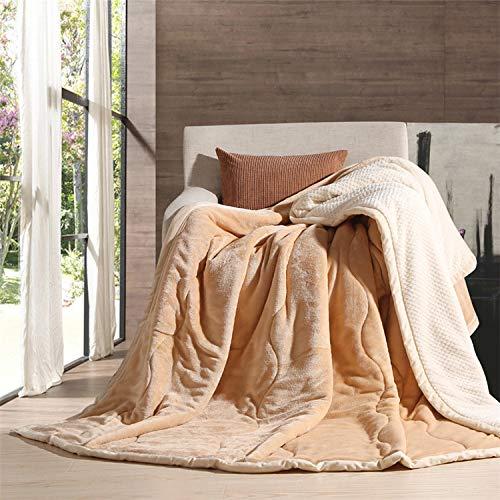 Simmia Home Decke Flanell Babydecke warme leichte Plüsch werfen Fleece Couch Schlafsofa zu Decken Beige Queen Size 150 x 200 cm -