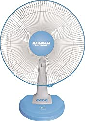 Maharaja Whiteline Aero Hi Speed 110-Watt Table Fan (White and Blue)