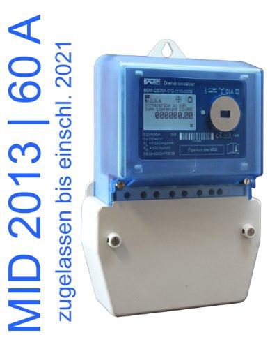elektronischer Drehstromzähler Smart Meter 60 Amp. MID zugelassen (max. 41,4 kW) (Bauern-zähler)
